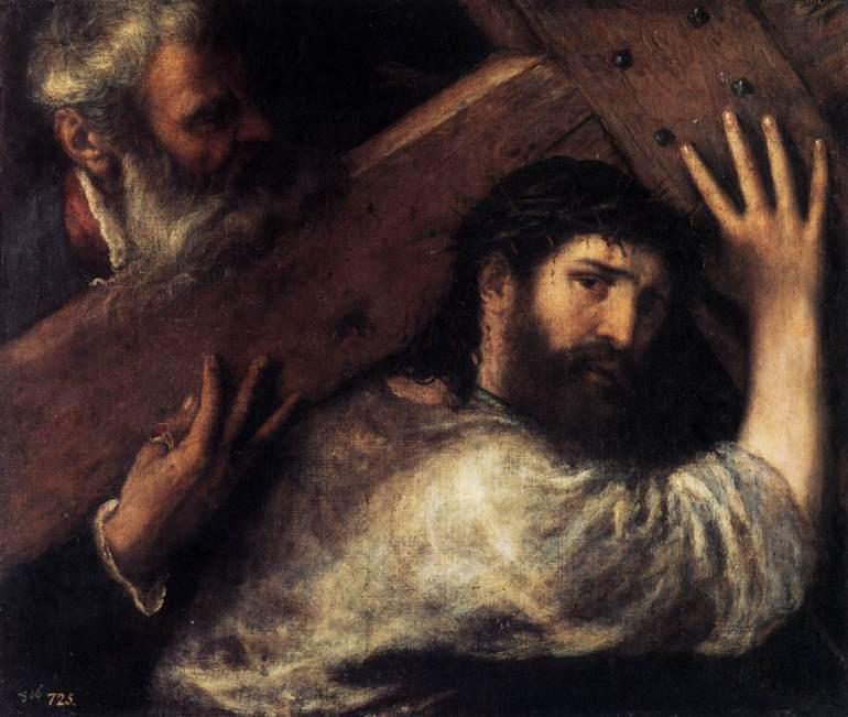 TIZIANO Vecellio-Christ Carrying the Cross (auxiliado pelo proprio artista)-1570-75-Museo del Prado, Madrid