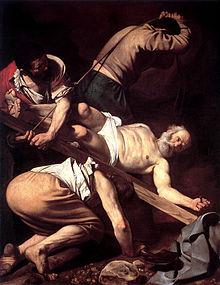 220px-Caravaggio-Crucifixion_of_Peter